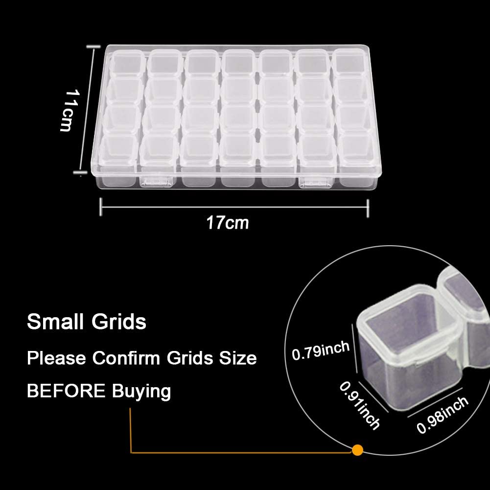 Terokota 4Pack 28 Grids Diamond Painting Storage Containers Diamond Bead Embroidery Boxes Organizer with 168Pcs Label Stick