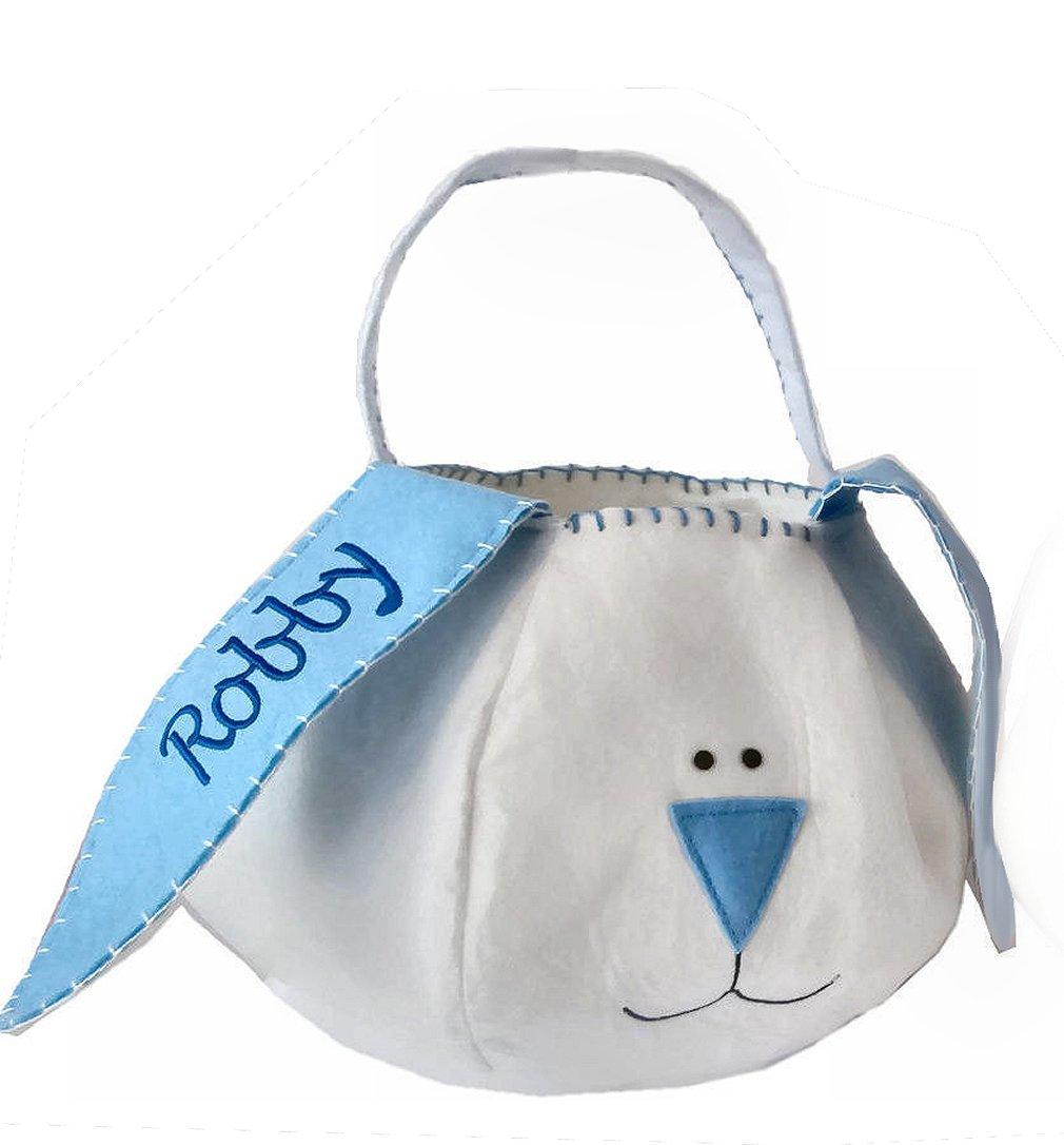 Personalized Blue Easter Basket – Felt Bunny Basket Tote Bucket Embroidered Blue for Boys