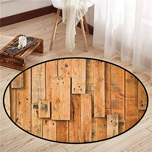 Living Room Round Rugs,Wooden,Lodge Style Teak Hardwood Wall Planks Image Print Farmhouse Vintage Grunge Design Artsy,Children Bedroom Rugs,4'7