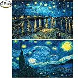 #4: 2 Pack 5D DIY Diamond Painting Full Drill Kit Starry Night 5D Full Diamond Embroidery Rhinestone Painting Kit 5D Decorating Wall Stickers, Starry Sky (50 × 40 CM) by Standie