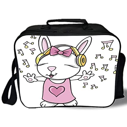 e8e8b33cae6c Amazon.com: Kids 3D Print Insulated Lunch Bag, Cute Rock Star Rabbit ...