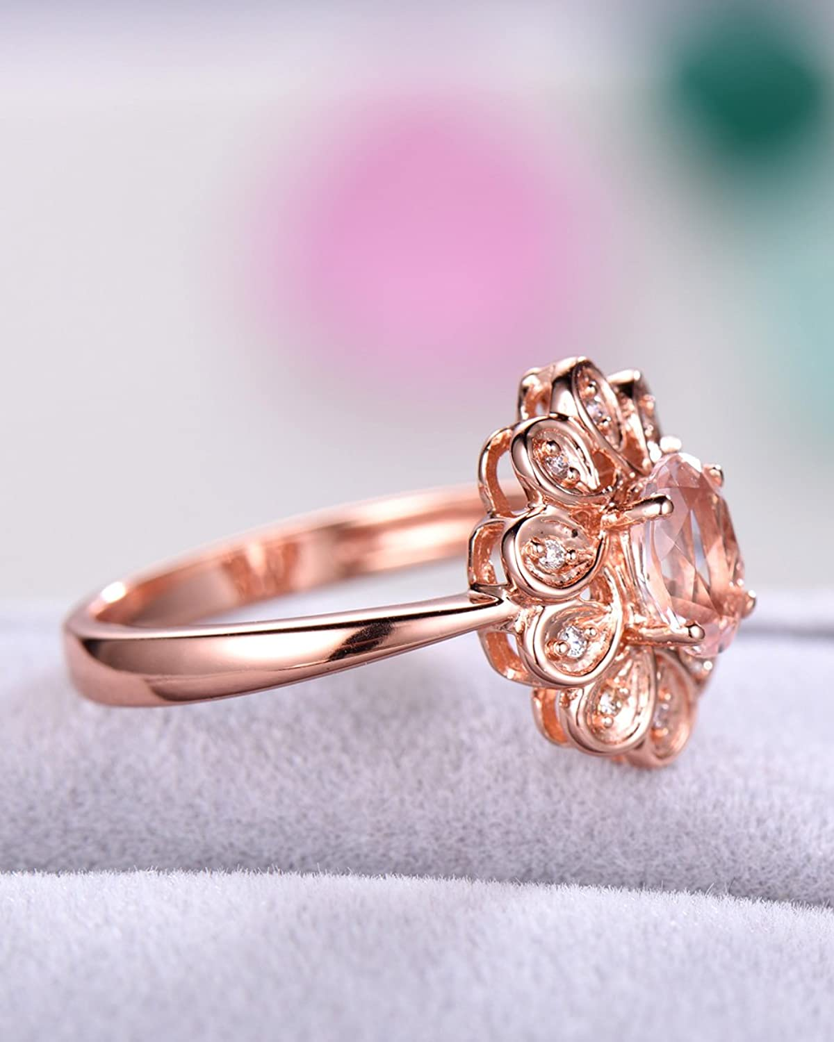 Amazon.com: Pink Morganite Wedding Ring Oval Flower CZ Diamond Halo ...