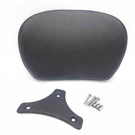 Amazon.com: Motorcycle Flat Black Cushion Backrest Pad Mount ...