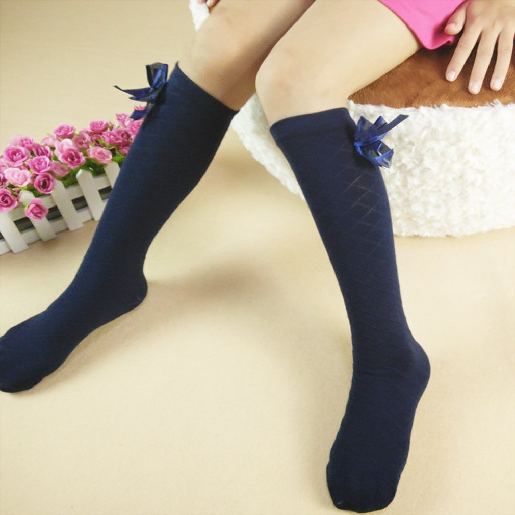 XueXian Girls Kids Cotton Solid Color Plaid Tube Socks with Bowtie TM