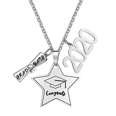 Amosfun Congrats Graduation 2020 Necklace Stainless Steel Tiny Star Pendant Necklace Fashion Jewelry Necklace Accessory for 2020 Graduation Gift Good Friend Gift Favors: Toys & Games