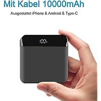 Mini Powerbank 10000mAh Mit Kabel Schnellladung Externer Akku, hohe Kapazität Klein Leicht, mit LED Digital Anzeige, Mehrere Konverter konfigurieren für iPhone, iPad, Huawei, Smartphone (schwarz)
