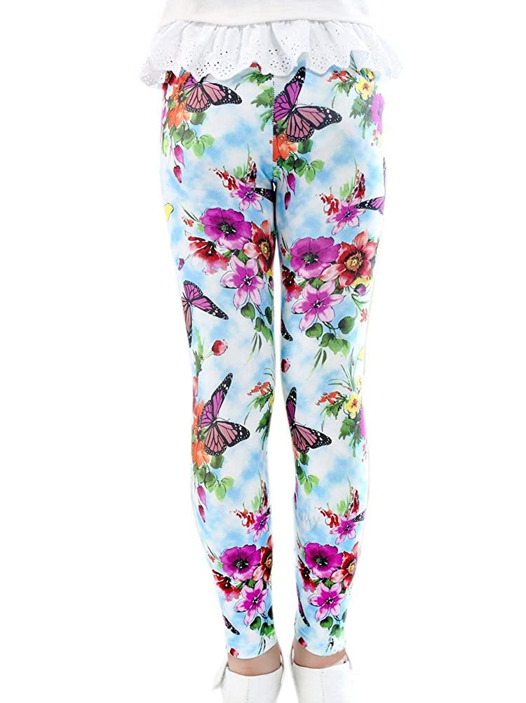 3-4X BT-CLO2412731011-EMILY02130 Georgeous Butterfly Girls Legging Blue Printed Tights