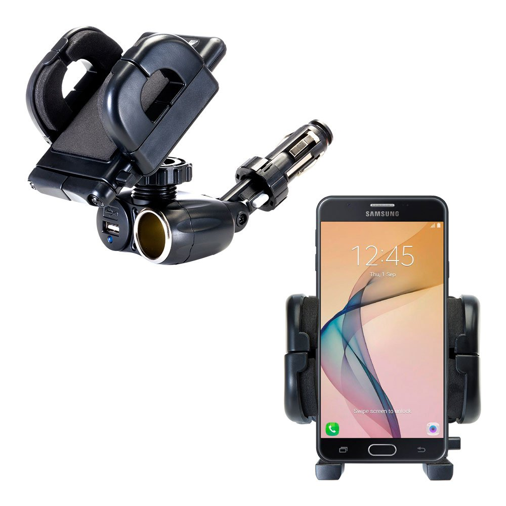 Unique Auto Cigarette Lighter and USB Charger Mounting System Includes Adjustable Holder for the Samsung Galaxy J7 / J7 Prime