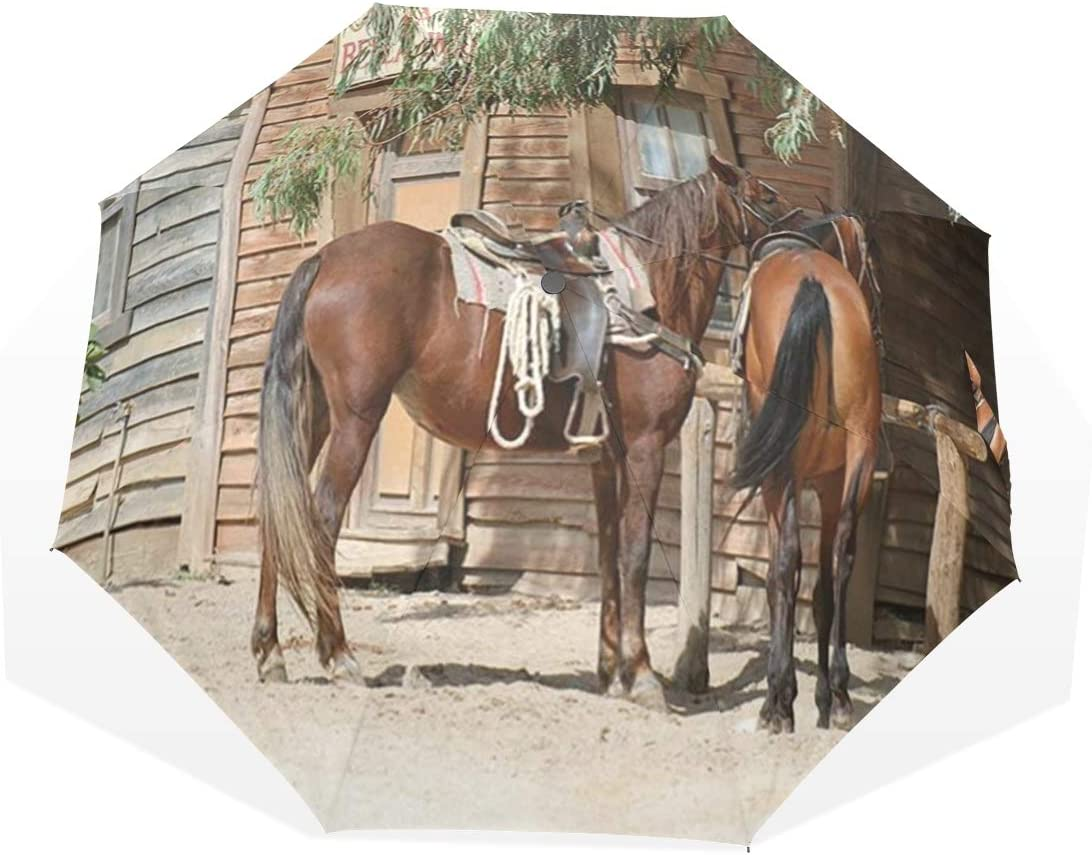 LASINSU Paraguas Resistente a la Intemperie,protección UV,Caballo Animales de Granja rústicos en el Paisaje Tradicional de la Ciudad Occidental Americana Granja de Madera