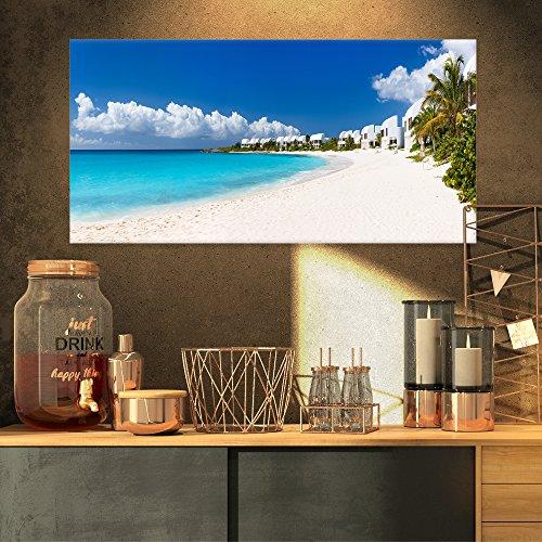 Landscape Panorama (Designart Caribbean Beach Panorama-Landscape Photo Canvas Art Print-32x16, 32x16, Blue)