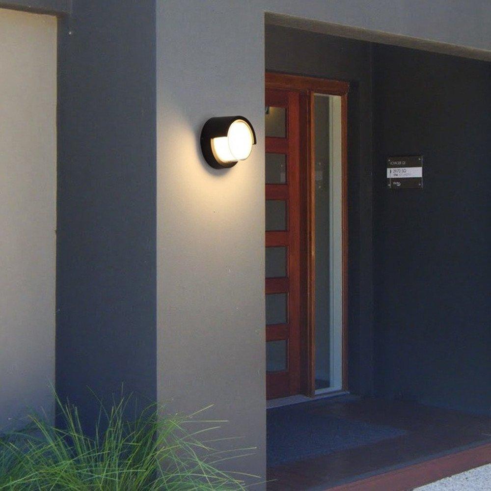 10W Led Wall Lamp Outdoor Lighting Sconces,Warm Light Exterior Waterproof Light Balcony Eaves Lights,AC85-265V 3000K Black Aluminum