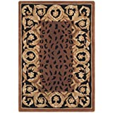 Safavieh Naples Collection NA712A Handmade Black and Gold Wool Area Rug, 2 feet by 3 feet (2′ x 3′) For Sale