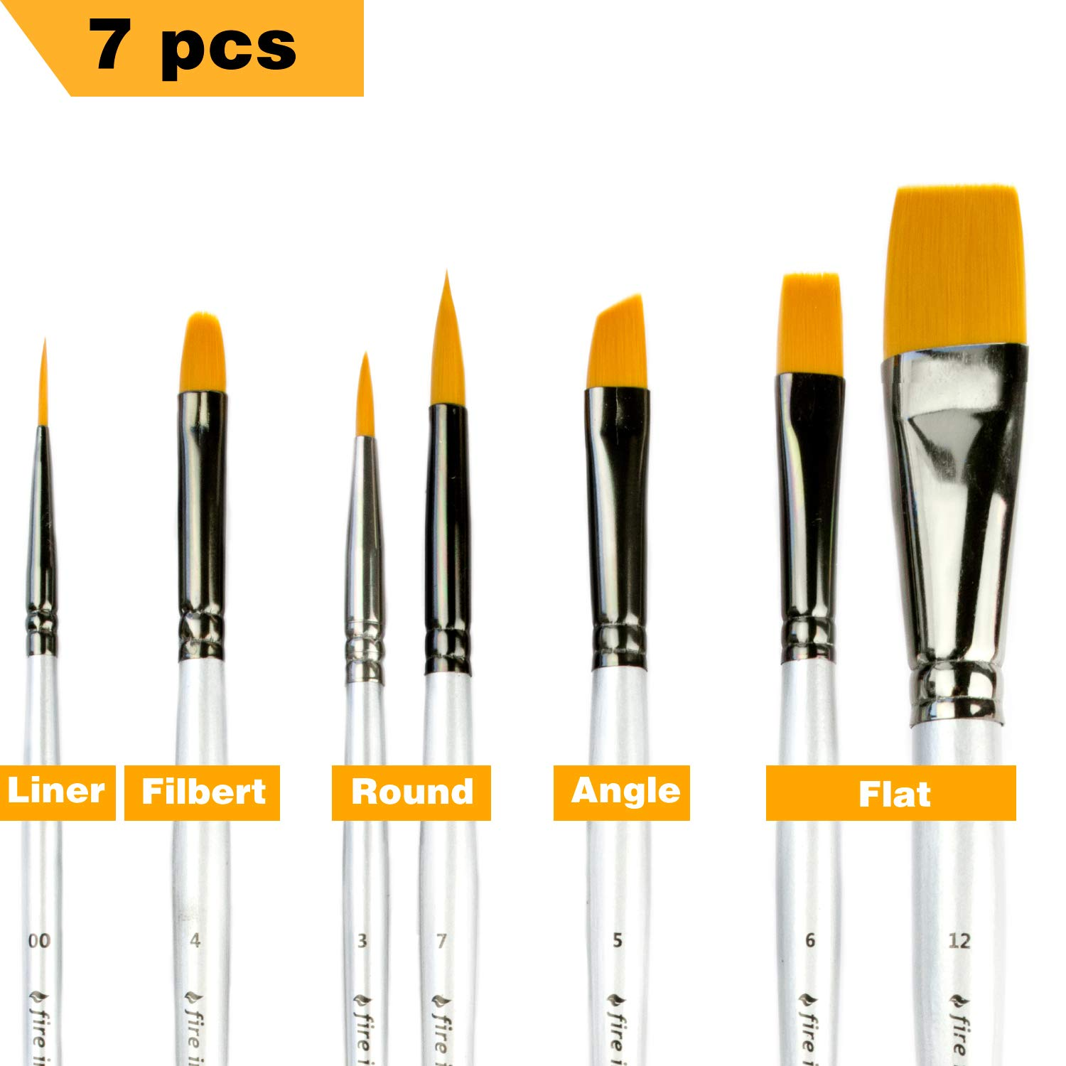 Artist Paint Brushes for Acrylic Painting Watercolor Oil - Body and Face Paint Brushes. Best Art Supplies Painting Brush Set of 7 pcs for Adults and Kids
