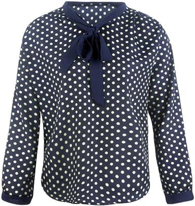 Logobeing Mujeres Manga Larga Gasa Bowknot Camisa Casual V-Cuello Puntos Blusa Lunares