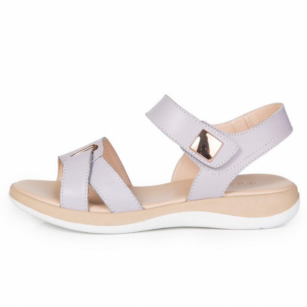 YTTY Weibliche Sandalen Sandalen Weibliche Leder Casual Hohlen Sandalen Weiblich  40|Helles Lila