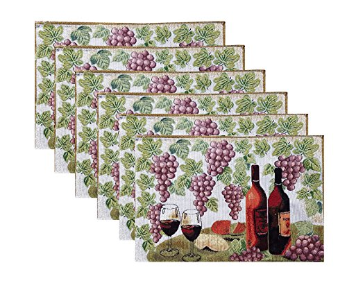 Grape Leaf Wine - Set of 6 Wine Table Fabric Placemats with Grapes and Leaves 13 x 19
