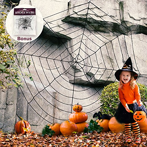 Newisland 11.8 Ft Giant Spider Web with Stretch Cobweb Set, Halloween Party (Spider Web Decorations Giant)