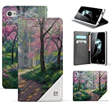 Spots8 Case For Alcatel Idol 5 6060C, Alcatel Nitro 5, Faux Leather Hybrid Flip Wallet Cover With Phone Strap Built In Kickstand Card Slots And Invisible Magnetic Closure Spring Church Outdoors