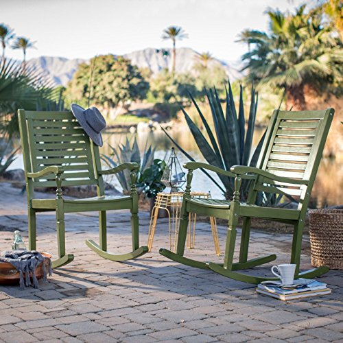 (Set of 2 Outdoor Solid Hard Wood Olive Green Outdoor Porch Rocking Chairs Rocker)
