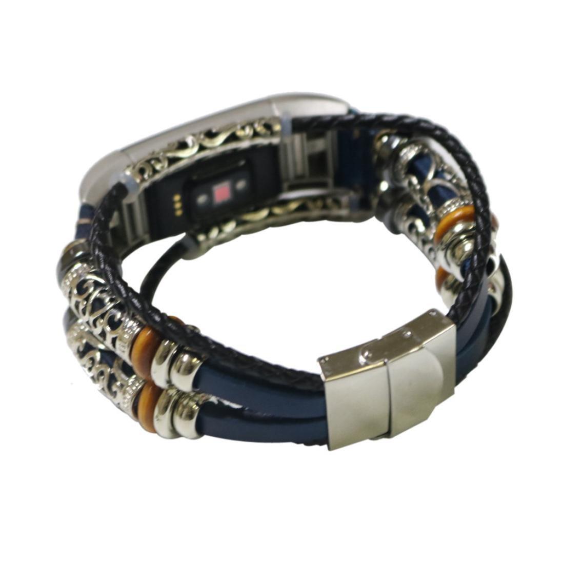 BZLine Für Fitbit Charge 2 Band Ledergurte, Verstellbare Original Classic Ersatz-Armband für Charge 2 Fitness-Zubehör mit Metallsteckern (Gold)