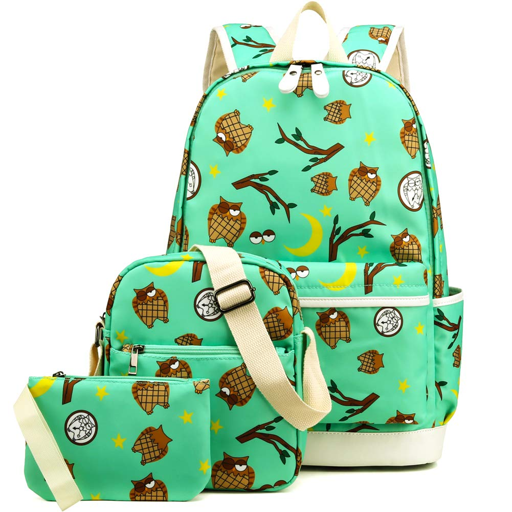 Kemy's Girls School Backpack Set 3 in 1 Bookbag+Shoulder Bag+Pencil Case Water-Resistant Jimei Leather Factory