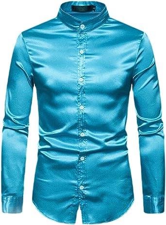 Camisa de Seguridad para Hombre de Seda Brillante como satén para Baile o Baile de graduación, para Fiesta, con Botones Azul Azul Claro US L: Amazon.es: Ropa y accesorios