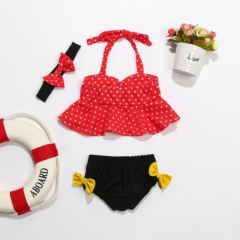 XXYsm Baby M/ädchen Punkte Zweiteiler Badeanzug mit Stirnband 3Pcs