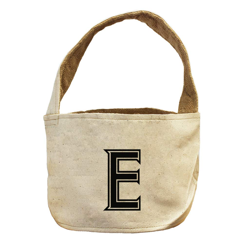 Style in Print E College Font Monogram Letter E Canvas and Burlap Storage Basket by Style in Print (Image #1)