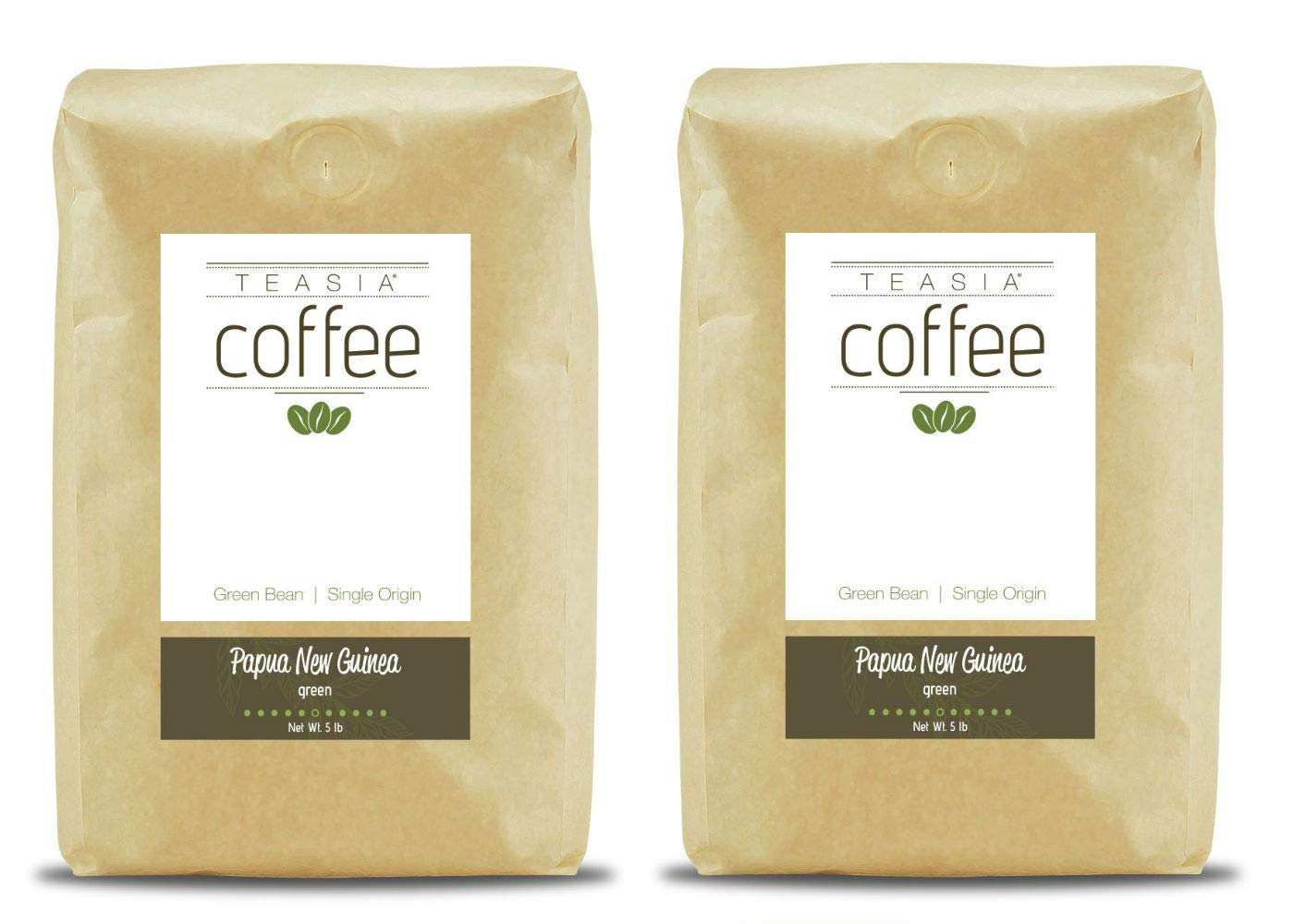 Teasia Coffee, Papua New Guinea, Single Origin Fair Trade, Green Unroasted Whole Coffee Beans, 5-Pound Bag (2-Pack)