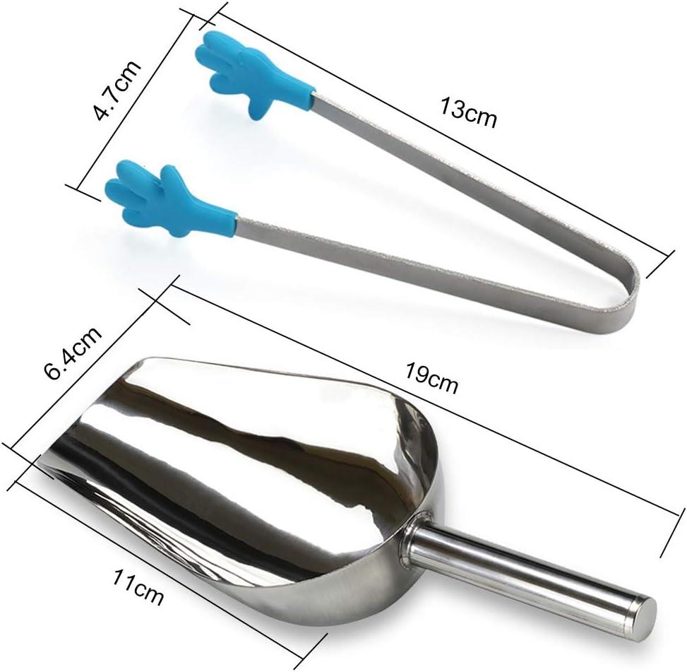 Globaldream 4 piezas de pinzas para hielo pinzas para az/úcar mini pinzas para servir de silicona y 2 piezas de cuchara para hielo de acero inoxidable cafeter/ía para la fiesta de t/é cocina