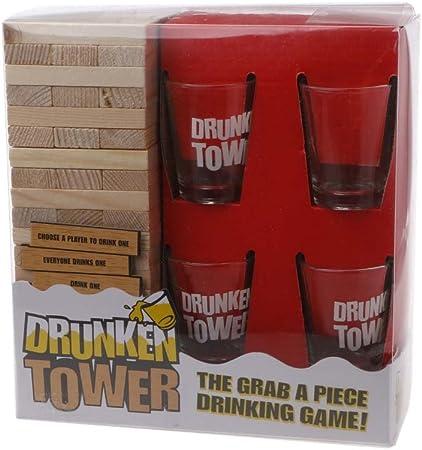 JAGENIE - Juego de Mesa para Beber (Madera, tamaño Grande), diseño de Torre: Amazon.es: Hogar