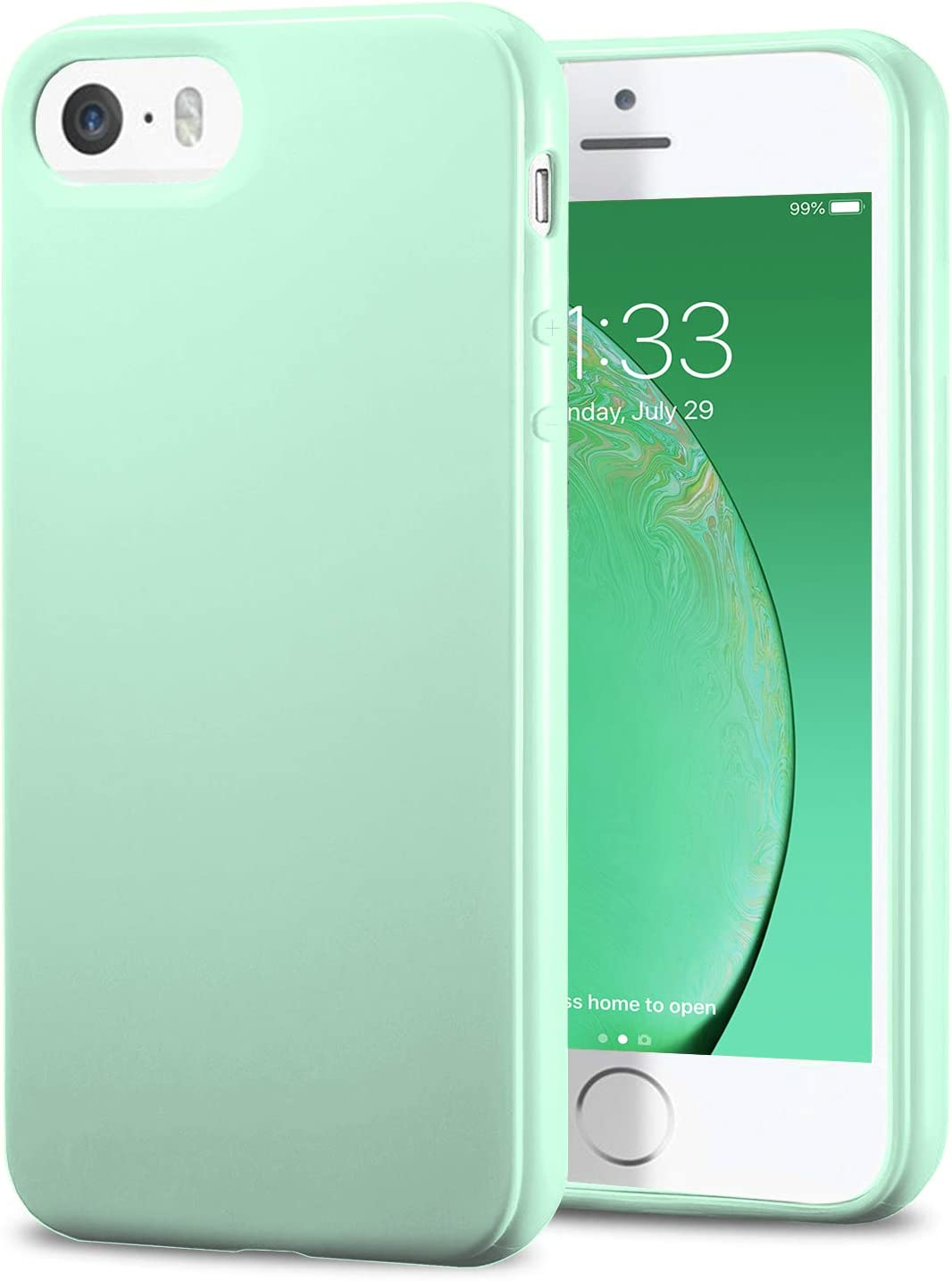 TENOC Phone Case Compatible for Apple iPhone SE 2016/ iPhone 5S/ iPhone 5, Slim Fit Cases Soft TPU Bumper Protective Cover, Glossy Mint