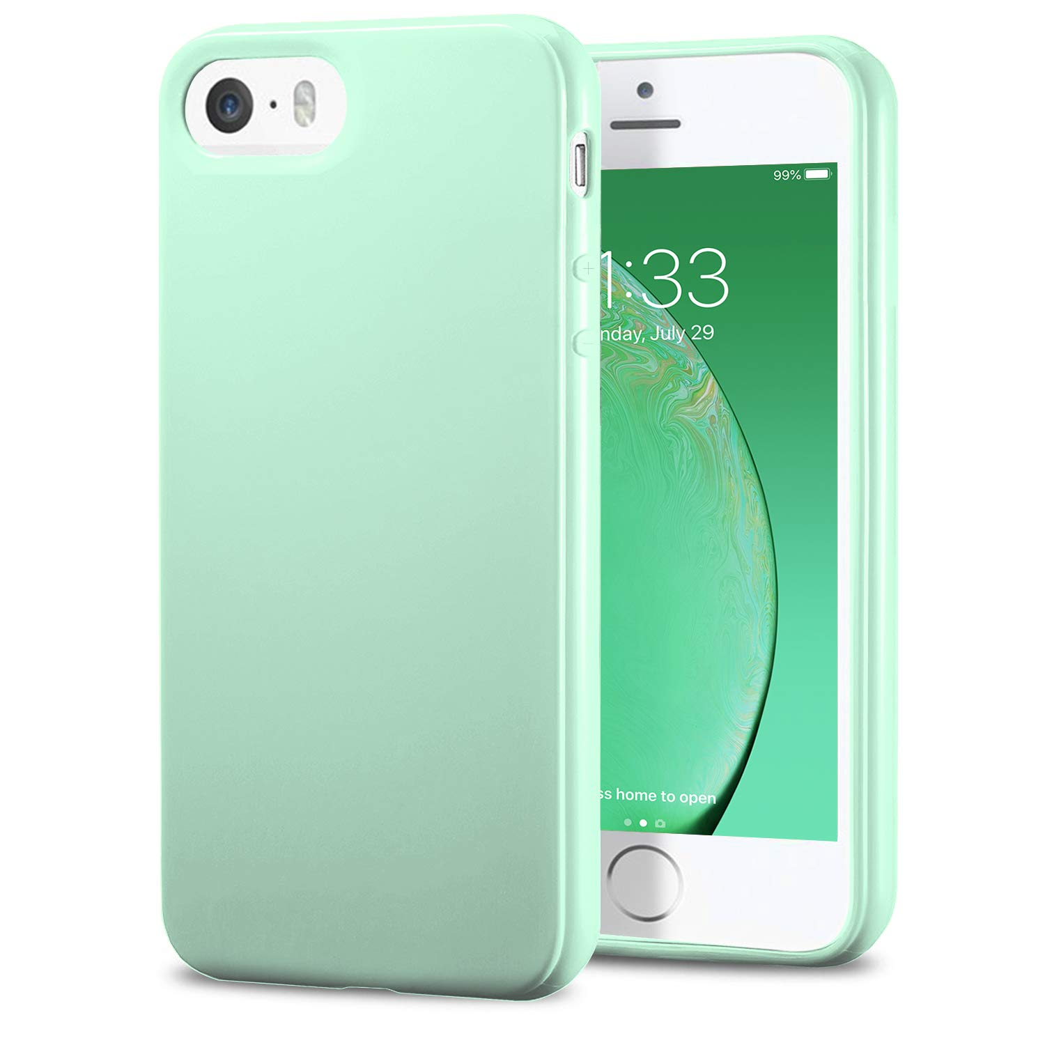TENOC Phone Case Compatible for Apple iPhone SE/iPhone 5S/ iPhone 5, Slim Fit Cases Soft TPU Bumper Protective Cover, Glossy Mint
