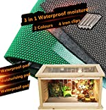 DREAMER.U 3 in 1 Waterproof Moisture Reptile Cage Substrate Carpet Landscaping Liner Mat for Reptiles Snakes Lizards Terrarium Turtles Soft Cage Floor Pad (12060cm/47.223.6in, Green)