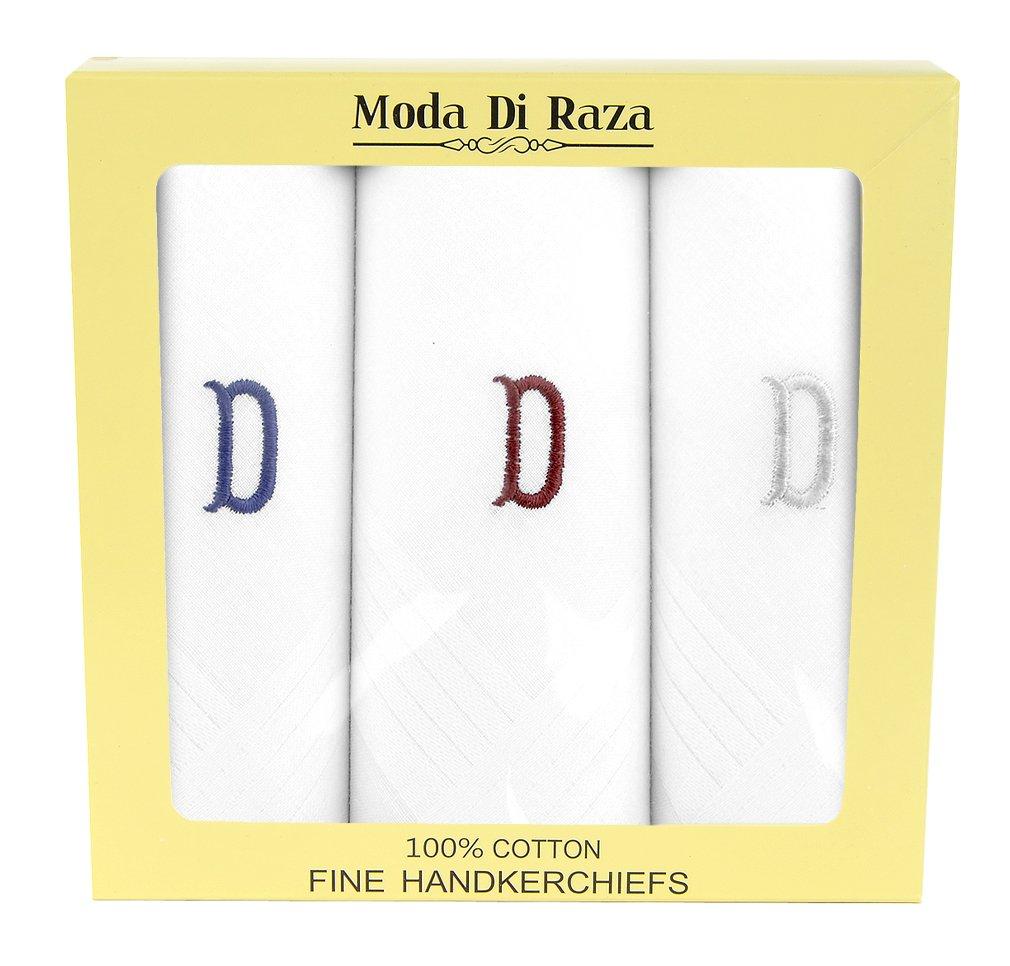 Moda Di Raza - Men's Cotton Monogrammed Handkerchiefs Initial Letter Hanky - D