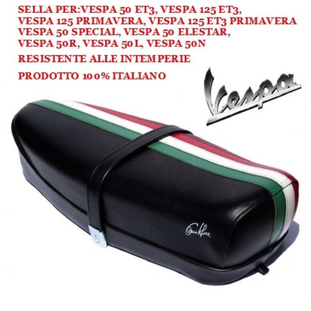 50/Elestar noir avec levier et bande tricolore Selle pour Vespa 50/125/ET3 vintage 50R 50N P0040FTN 50/Special 50L Primavera 125 Dieffe