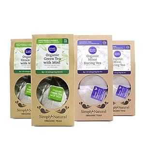 Zenxin Simply Natural Organic Mint Green tea & Java Tea (Misai Kucing) 16 Tea Bags/box, Pack of 4 (Each Flavour 2 Pack) 100% Natural, Refreshing Herbal Tea