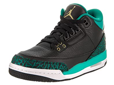 c11cd2acf65a Image Unavailable. Image not available for. Color  Jordan Nike Kids Air 3  Retro Gg Black Metallic Gold Rio Teal Basketball Shoe 4