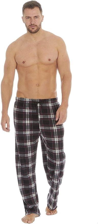 Style It Up Pijama para hombre con parte inferior de tartán a cuadros, ropa de dormir suave y cálida de forro polar