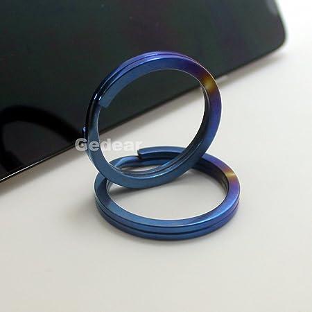 """Custom Titanium Split Ring • 1.1"""" • Blue"""