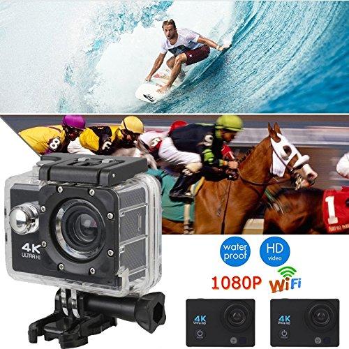 Hongfei (Negro) Cámara de acción, 4K Ultra HD Cámara Impermeable de Deporte 2 Pulgadas Pantalla LCD 12MP 90 Grados de ángulo Ancho