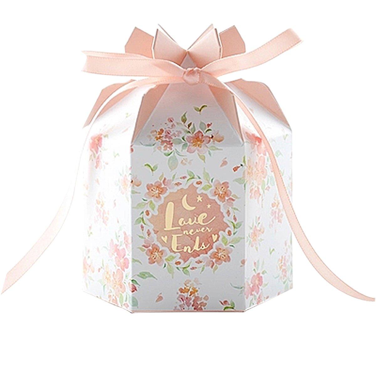 Amazon Com Autulet Exquisite Orange Pink Wedding Favor Boxes Bridal
