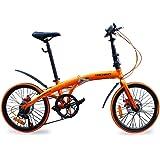 ハチコHACHIKO高炭素鋼折り畳み自転車SHIMANOシマノ7段変速 20インチ[98%完成品]泥よけ付き HA-02