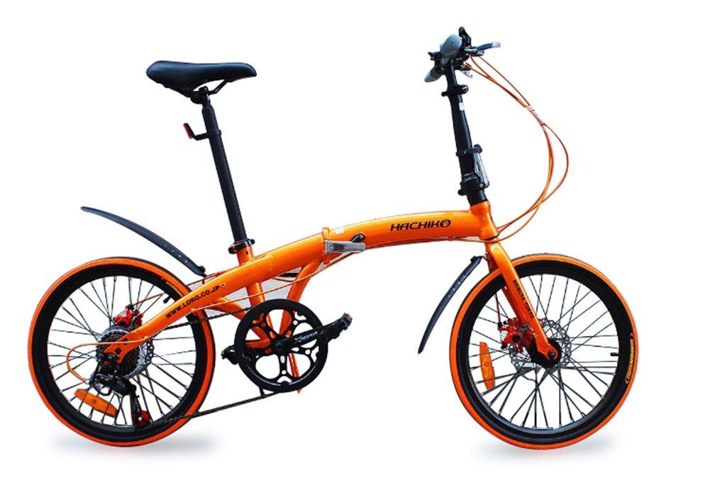 ハチコHACHIKO高炭素鋼折り畳み自転車SHIMANOシマノ7段変速 20インチ[98%完成品]泥よけ付き HA-02  orange B078WQFC5J