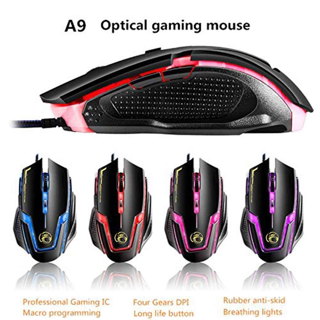 Morza Apedra A9 Ergonomique USB de Programmation Macro Souris Filaire Optique Gaming Respirer R/étro-/éclairage Gamer Souris dordinateur