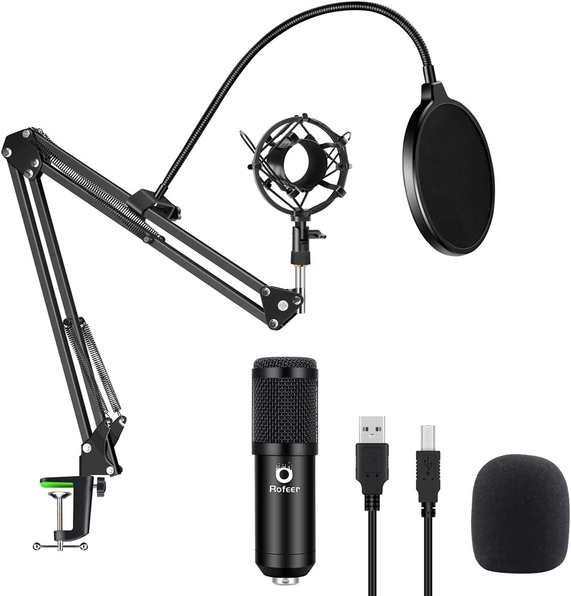 USB Podcast Condenser Microphone Kit 192kHZ/24bit Plug & Play Computer PC Microphone Studio Streaming Cardioid Mic with Professional Sound Chipset for Recording Broadcasting YouTube Gaming
