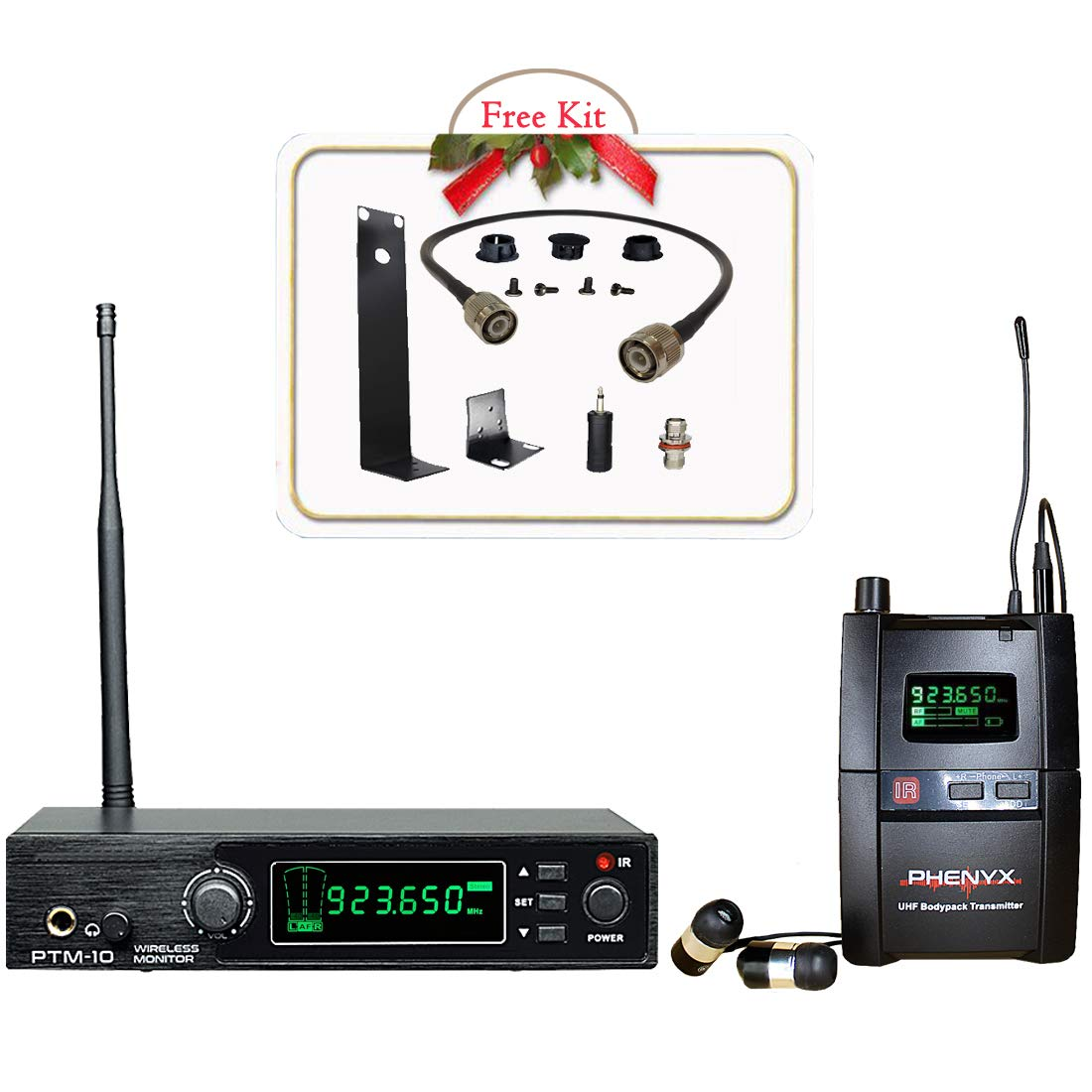 Phenyx Pro UHF Stereo Wireless in Ear Audio Monitor System, Selectable Frequency 900MHz Band, Rack Mountable, 160 ft. Operation, Ideal for Stage, Studio, Exhibit, Lecture, Speech PTM-10