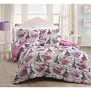 Paris Love Girls Teen Ruched Twin Comforter Shams,and BONUS Toss Pillow 3 piece Bedding Set
