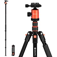 GEEKOTO 77'' Tripod, Camera Tripod for DSLR, Compact Aluminum Tripod with 360 Degree Ball Head and 8kgs Load for Travel…