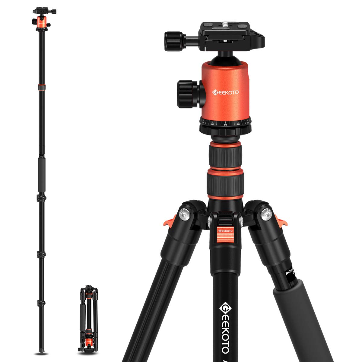 GEEKOTO 77'' Tripod, Camera Tripod for DSLR, Compact Aluminum Tripod with 360 Degree Ball Head and 8kgs Load for Travel and Work
